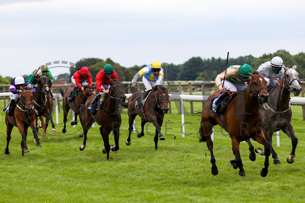 Call My Bluff ridden by Liam Keniry (T: Dominic Ffrench) (blue and yellow silks) in action in the 16:10 Visit valuerater.co.uk For Free Handicap - Rogan/JMP - 14/07/2020 - HORSE RACING - Bath Racecourse - Bath, England.