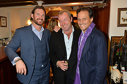Left to right, LIAM BOTHAM, DAVID YARROW and ARUN NAYAR at a pre christmas party & shopping evening at Patrick Mavros, 104-106 Fulham Road, London on 26th November 2014.