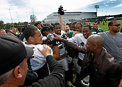"October 8, 2009; Florham Park, NJ; USA; Floyd ""Money"" Mayweather breaks down the New York Jets practice in Florham Park, NJ."