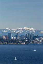 United States, Washington, Bellevue, city skyline and Lake Washington viewed from Seattle