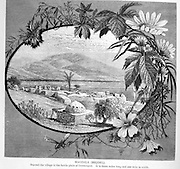 Historic illustration of Magdala (Mejdel) - current day Migdal. The Sea of Galilee in the background