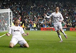 10-12-2011 VOETBAL: REAL MADRID - BARCELONA: MADRID<br /> Karim Benzema celebrates with Cristiano Ronaldo during La Liga Match<br /> ***NETHERLANDS ONLY***<br /> ©2011-FRH- NPH/Alvaro Hernandez