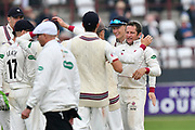Wicket - Roelof van der Merwe of Somerset celebrates taking the wicket of Steven Finn of Middlesex during the Specsavers County Champ Div 1 match between Somerset County Cricket Club and Middlesex County Cricket Club at the Cooper Associates County Ground, Taunton, United Kingdom on 26 September 2017. Photo by Graham Hunt.
