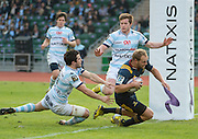 MATT FADDES scores during the Natixis Cup rugby match between French team Racing 92 and New Zealand team Otago Highlanders at Sui San Wan Stadium in Hong Kong.