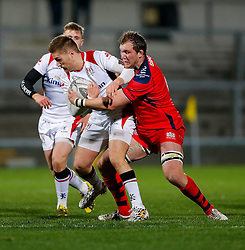 Bristol Rugby Flanker Nick Koster makes a tackle on Ulster Ravens Full Back Jonny McPhillips  - Mandatory byline: Rogan Thomson/JMP - 13/11/2015 - RUGBY UNION - Kingspan Stadium - Belfast, Northern Ireland - Ulster Ravens v Bristol Rugby - The British & Irish Cup Pool 2.