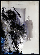 eroding glass plate photo with elderly couple