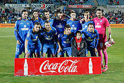 16.01.2014, Coliseum Alfonso Perez, Getafe, ESP, Copa del Rey, FC Getafe vs FC Barcelona, Achtelfinale, Rueckspiel, im Bild Getafe´s team players // Getafe´s team players during the last sixteen 2nd leg match of Spanish Copa del Rey between Getafe CF and Barcelona FC at the Coliseum Alfonso Perez in Getafe, Spain on 2014/01/16. EXPA Pictures © 2014, PhotoCredit: EXPA/ Alterphotos/ Victor Blanco<br /> <br /> *****ATTENTION - OUT of ESP, SUI*****
