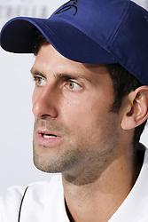 May 7, 2018 - Madrid, Spain - Novak Djokovic press conference during day three of the Mutua Madrid Open tennis tournament at the Caja Magica on May 7, 2018 in Madrid, Spain. (Credit Image: © Oscar Gonzalez/NurPhoto via ZUMA Press)