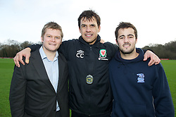 CARDIFF, WALES - Thursday, January 31, 2013: Wales' manager Chris Coleman with James Morris [r] (Sports Xtra Coach) and Rob Oyston [l] (Managing Director of Sports Xtra) help launch Vauxhall's Fun Football programme with the Football Association of Wales and the Welsh Football Trust at the Vale of Glamorgan Hotel. For more information please contact Amy White on 07805 936211.  (Pic by David Rawcliffe/Propaganda)