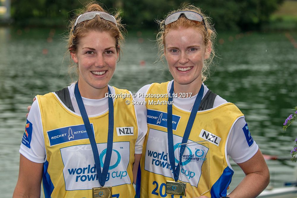 Kerri Gowler (Aramoho Wanganui RC) and Grace Prendergast (Avon RC) NZ Womens Coxless Pair winning the gold medal at WCIII on the Rotsee, Lucerne, Switzerland, Sunday 9th July 2017 © Copyright Steve McArthur / www.photosport.nz