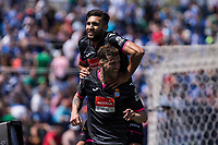 Leo Baptistao and Navarro of RCD Espanyol celebrates after scoring a goalduring the match of La Liga between  Club Deportivo Leganes and RCD Espanyol at Butarque  Stadium  in Leganes, Spain. April 16, 2017. (ALTERPHOTOS / Rodrigo Jimenez)