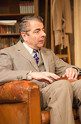 "© Licensed to London News Pictures. 25/01/2013. London, England. Rowan Atkinson stars as St. John Quatermaine in ""Quartermaine's Terms"" at the Wyndham's Theatre, London. The tragicomic play was written by Simon Gray; direction by Richard Eyre. Bettina Strenske/LNP"