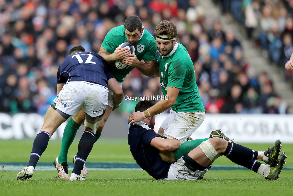 RBS 6 Nations Championship Round 1, BT Murrayfield, Scotland 4/2/2017<br /> Scotland vs Ireland<br /> Ireland's Rob Kearney and Iain Henderson with Alex Dunbar and Ryan Wilson of Scotland<br /> Mandatory Credit &copy;INPHO/Dan Sheridan