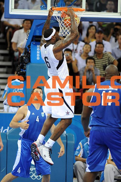 DESCRIZIONE : Beijing Pechino Olympic Games Olimpiadi 2008 Usa Greece <br /> GIOCATORE : LeBron James <br /> SQUADRA : Usa <br /> EVENTO : Olympic Games Olimpiadi 2008 <br /> GARA : Usa Grecia Usa Greece <br /> DATA : 14/08/2008 <br /> CATEGORIA : Schiacciata <br /> SPORT : Pallacanestro <br /> AUTORE : Agenzia Ciamillo-Castoria/E.Castoria <br /> Galleria : Beijing Pechino Olympic Games Olimpiadi 2008 <br /> Fotonotizia : Beijing Pechino Olympic Games Olimpiadi 2008 Usa Greece <br /> Predefinita :