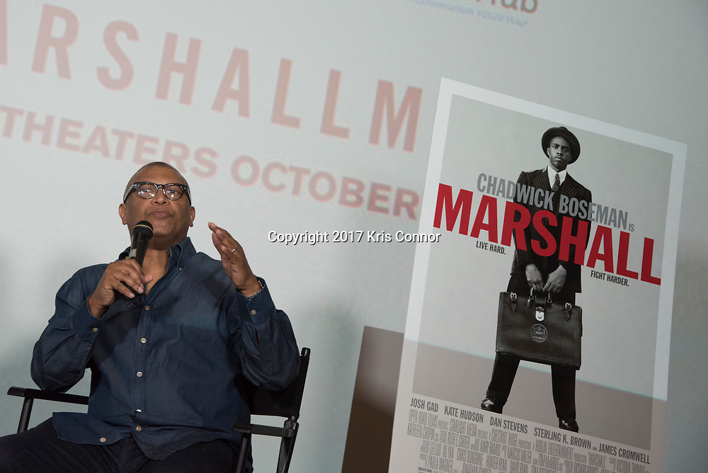 Director Reginald Hudlin speaks during a Q&A session after a screening of Open Road Films' new movie MARSHALL at in Baltimore, Md. on July 25th, 2017. (Photo by Kris Connor/Open Road Films)