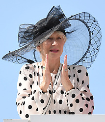 Dame Helen Mirren watches the racing as she attends The Epsom Derby at Epsom Racecourse, Epsom, Surrey, UK, on the 2nd June 2018. 25 May 2018 Pictured: Dame Helen Mirren watches the racing as she attends The Epsom Derby at Epsom Racecourse, Epsom, Surrey, UK, on the 2nd June 2018. Photo credit: James Whatling / MEGA TheMegaAgency.com +1 888 505 6342