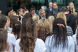 City Hall, London, May 19th 2016. PICTURED: Mayor of London Sadiq Khan talks with the dancers.<br /> <br /> The Mayor of London Sadiq Khan joins internationally-celebrated choreographer Akram Khan and Londoners from across the capital as they do their warm-ups at City Hall for the international Big Dance Pledge.<br />  <br /> The preview of the performance ahead of the world-wide Big Dance event. On Friday 20 May, over 40,000 people in 43 countries around the world will take part in the dance, which has been specially choreographed by Akram Khan.