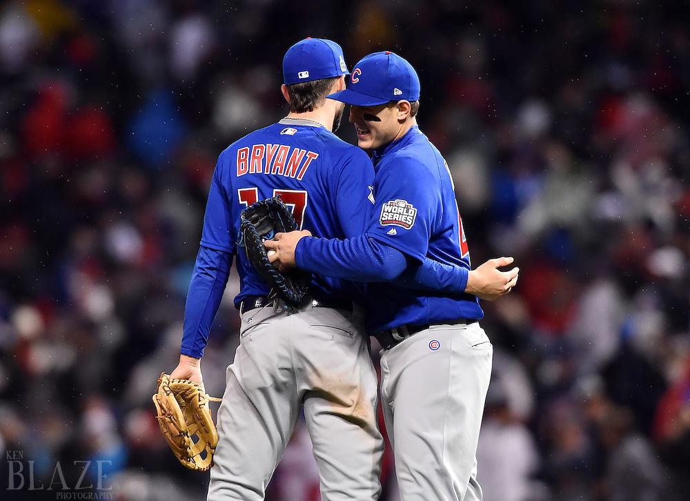 Oct 26, 2016; Cleveland, OH, USA; Chicago Cubs players Anthony Rizzo (44) and Kris Bryant (17) celebrate after defeating the Cleveland Indians in game two of the 2016 World Series at Progressive Field. Mandatory Credit: Ken Blaze-USA TODAY Sports