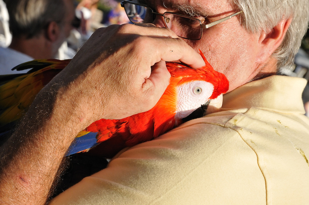 Man with macaw at the the 2013 Tucson Folk Festival. Event photography by Martha Retallick.
