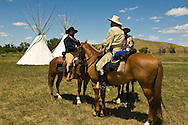 Custers Last Stand Reenactment. Crow Indian Reservation, Montana, 7th Cavalry, George Custer and scouts.