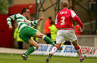 Fotball<br /> England 2005/2006<br /> Foto: SBI/Digitalsport<br /> NORWAY ONLY<br /> <br /> Swindon v Yeovil<br /> Coca Cola League 1.<br /> 27/08/2005.<br /> <br /> Yeovil's Paolo Bastianini scores the opening goal.
