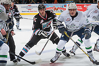 KELOWNA, CANADA - NOVEMBER 25: Jordan Borstmayer #11 of Kelowna Rockets looks for the pass behind Matthew Wedman #21 of Seattle Thunderbirds on November 25, 2015 at Prospera Place in Kelowna, British Columbia, Canada.  (Photo by Marissa Baecker/Getty Images)  *** Local Caption *** Matthew Wedman; Jordan Borstmayer;