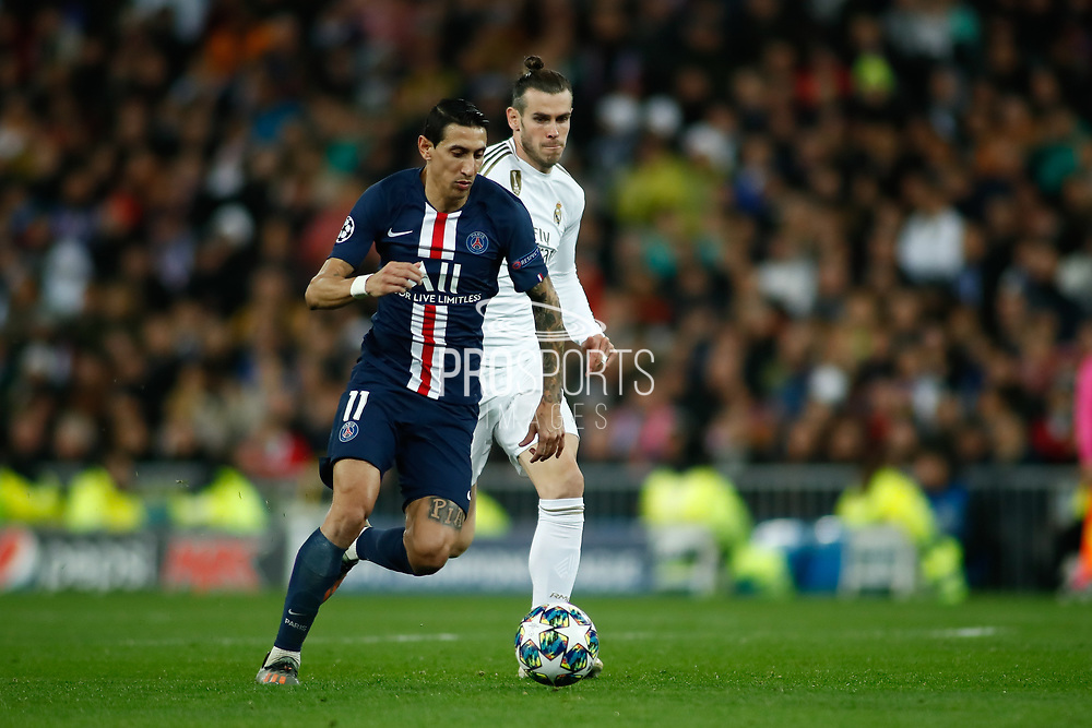Angel Di Maria of Paris Saint-Germain and Gareth Bale of Real Madrid during the UEFA Champions League, Group A football match between Real Madrid CF and Paris Saint-Germain on November 26, 2019 at Parc des Princes stadium in Paris, France - Photo Oscar J Barroso / Spain ProSportsImages / DPPI / ProSportsImages / DPPI