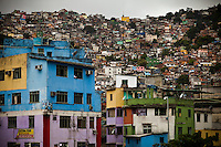 The community of Rocinha, Latin America's largest favela with an unofficial population of about 250,000 residents, in Rio de Janeiro, Brazil, on Friday, Feb. 1, 2013. Pacification and police presence have made most of the area safer for both residents and visitors.
