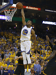 June 12, 2017 - Oakland, CA, USA - The Golden State Warriors' Andre Iguodala (9) dunks against the Cleveland Cavaliers in the second quarter of Game 5 of the NBA Finals at Oracle Arena in Oakland, Calif., on Monday, June 12, 2017. (Credit Image: © Nhat V. Meyer/TNS via ZUMA Wire)