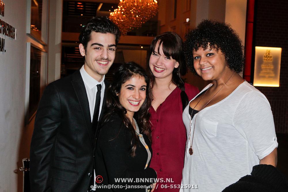NLD/Amsterdam/20120110 - Amsterdamse premiere van Emmi@Leo, Jasper Gottlieb en patner Fatima Genc, Roos Smit en Talisia Misiedjan