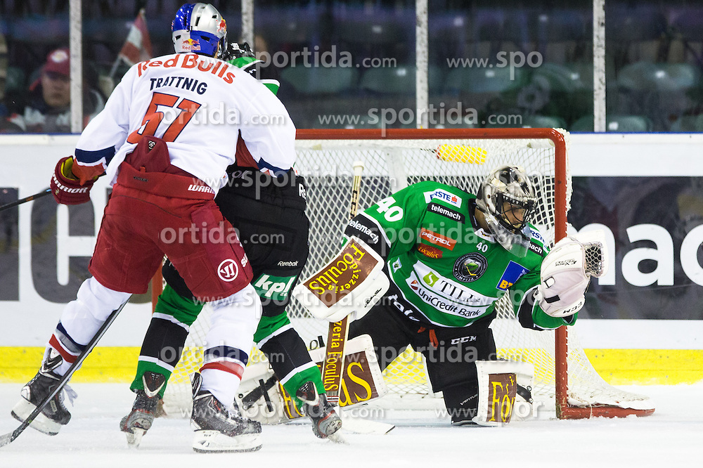 12.10.2014, Hala Tivoli, Ljubljana, SLO, EBEL, HDD Telemach Olimpija Ljubljana vs EC Red Bull Salzburg, 10. Runde, in picture Andy Chiodo (HDD Telemach Olimpija, #40) catches the puck during the Erste Bank Icehockey League 10. Round between HDD Telemach Olimpija Ljubljana and EC Red Bull Salzburg at the Hala Tivoli, Ljubljana, Slovenia on 2014/10/12. Photo by Matic Klansek Velej / Sportida