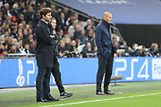 Real Madrid manager Zinedine Zidane and Tottenham Hostpur manager Mauricio Pochettino on touchline during the Champions League match between Tottenham Hotspur and Real Madrid at Wembley Stadium, London, England on 1 November 2017. Photo by Matthew Redman.