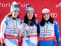 15.03.2018, Aare, SWE, FIS Weltcup Ski Alpin, Finale, Aare, Alpine Kombination, Siegerehrung, im Bild v.l. Michelle Gisin (SUI, 2. Platz Weltcup Alpine Kombination), Wendy Holdener (SUI, Weltcup Sieger Alpine Kombination), Federica Brignone (ITA, 3. Platz Weltcup Alpine Kombination) // f.l. second placed world cup alpine combinet Michelle Gisin of Switzerland Alpine combinet world cup winner Wendy Holdener of Switzerland third placed world cup alpine combinet Federica Brignone of Italy during the winner Ceremony for the Alpine combinet Worlcup of FIS Ski Alpine World Cup finals in Aare, Sweden on 2018/03/15. EXPA Pictures © 2018, PhotoCredit: EXPA/ Johann Groder