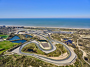 Nederland, Noord-Holland, Zandvoort; 23-03-2020; Circuit Zandvoort. Het circuit na de verbouwing en in gereedheid voor Grand Prix Formule 1-races en deGrote Prijs van Nederland. De races zijn uitgesteld ivm de Corona crisis.<br /> Zandvoort circuit. The track after the renovation and ready for Grand Prix Formula 1 races and the Grand Prix of the Netherlands. The races have been postponed due to the Corona crisis.<br /> <br /> luchtfoto (toeslag op standaard tarieven);<br /> aerial photo (additional fee required)<br /> copyright © 2020 foto/photo Siebe Swart