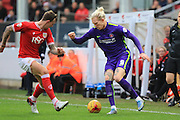 Charlton Athletic forward Simon Makienok and Bristol City defender Aden Flint during the Sky Bet Championship match between Bristol City and Charlton Athletic at Ashton Gate, Bristol, England on 26 December 2015. Photo by Jemma Phillips.
