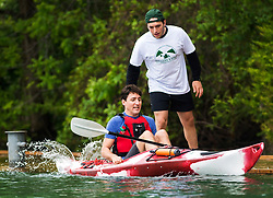 Prime Minister Justin Trudeau gets into a kayak as he prepares to paddle on the Niagara River in Niagara-on-the Lake, Ont., on Monday, June 5, 2017. Trudeau was promoting World Environment Day. Photo by Nathan Denette/CP/ABACAPRESS.COM