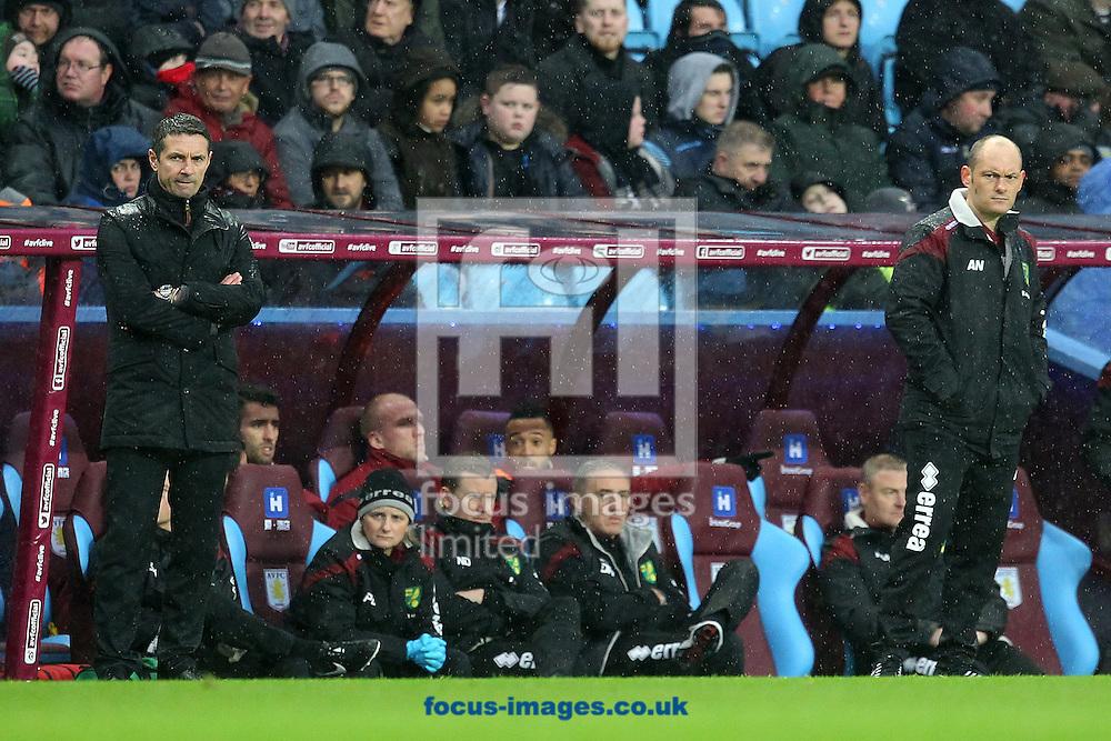 Norwich Manager Alex Neil and Aston Villa Manager Remi Garde during the Barclays Premier League match at Villa Park, Birmingham<br /> Picture by Paul Chesterton/Focus Images Ltd +44 7904 640267<br /> 06/02/2016