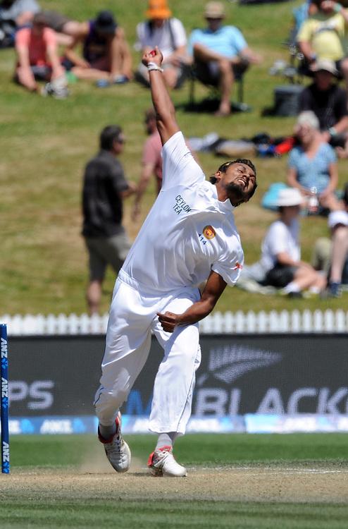 Sri Lanka's Suranga Lakmal bowls against New Zealand on day three of the second International Cricket Test, Seddon Park, Hamilton, New Zealand, Sunday, December 20, 2015. Credit:SNPA / Ross Setford