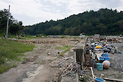 Photo shows vacant land, once the site of a thriving fishing community near Kyubun beach on the Oshika Peninsula, Ishinomaki City, Miyagi Prefecture, Japan on 10 Sept, 2011, 6 months after the mega-tsunami ripped through the area..Photographer: Robert Gilhooly