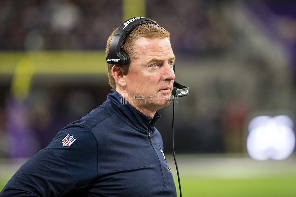 Dec 1, 2016; Minneapolis, MN, USA; Dallas Cowboys head coach Jason Garrett during a game between the Dallas Cowboys and Minnesota Vikings at U.S. Bank Stadium. The Cowboys defeated the Vikings 17-15. Mandatory Credit: Brace Hemmelgarn-USA TODAY Sports