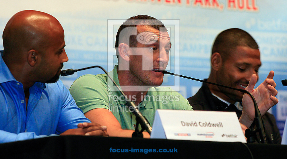 Picture by Richard Gould/Focus Images Ltd +44 7855 403186<br /> 22/06/2013<br /> Drew Mathews speaks about the big fight with Tommy Coyle (not in picture) pictured during a press conference at Hull City Hall.
