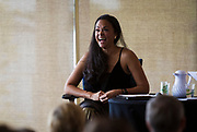 Actress Karen Olivo laughs during the Cap Times Idea Fest 2018 at the Pyle Center in Madison, Wisconsin, Saturday, Sept. 29, 2018.