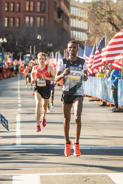 BAA 5K road race Gebremeskel Ethiopia adidas homestretch win over True USA Saucony