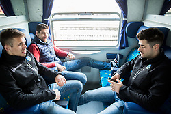 Nik Pem, Gasper Kroselj, Jurij Repe during departure to Budapest of Slovenian Ice Hockey National Team, on April 17, 2017 in Railway station, Ljubljana, Slovenia. Photo by Vid Ponikvar / Sportida