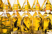 "10 MARCH 2006 - HO CHI MINH CITY, VIETNAM: Snake wine for sale in a store in Ho Chi Minh City, (formerly Saigon) Vietnam. Snake wine contains snakes, scorpions, gecko lizards and other animals is credited with possessing near magical powers and is called ""Vietnamese Viagra"" by some in Vietnam. Photo by Jack Kurtz"