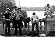 Casuals drinking in hyde park, London 1981