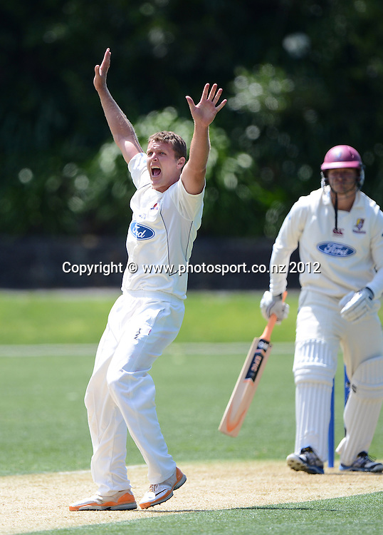 Aces bowler Michael Bates appeals successfully for a LBW to dismiss Corey Anderson. Plunket Shield Cricket, Auckland Aces v Northern Knights at Eden Park outer oval. Saturday 10 November 2012. Photo: Andrew Cornaga/Photosport.co.nz