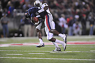 Ole Miss wide receiver Vince Sanders (10) is tackled by Vanderbilt defensive back Trey Wilson (8) at Vaught-Hemingway Stadium in Oxford, Miss. on Saturday, November 10, 2012. (AP Photo/Oxford Eagle, Bruce Newman)