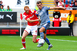Shaun MacDonald of Rotherham United puts pressure on Harry Toffolo of Lincoln City - Mandatory by-line: Ryan Crockett/JMP - 10/08/2019 - FOOTBALL - Aesseal New York Stadium - Rotherham, England - Rotherham United v Lincoln City - Sky Bet League One
