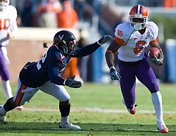 Clemson wide receiver Jacoby Ford (6) dodges a tackle from Virginia safety Byron Glaspy (22).  The Clemson Tigers defeated the Virginia Cavaliers 13-3 in NCAA Division 1 football at Scott Stadium on the Grounds of the University of Virginia in Charlottesville, VA on November 22, 2008.